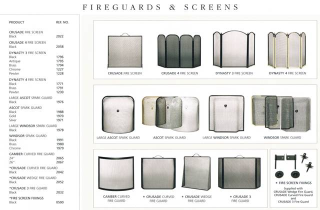 SOILD FUEL RANGE OF ACCESSORIES FIREGUARDS AND SCREENS
