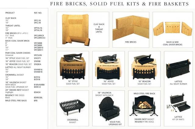 SOILD FUEL RANGE OF ACCESSORIES FIRE BACKS, SOILD FUEL KITS
